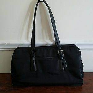 New Coach Large Black Bag Leather Trim